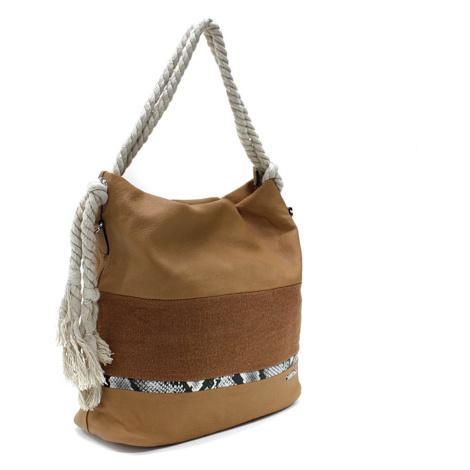 Hnědobéžová velká dámská kabelka s lanovými uchy Willa Mahel