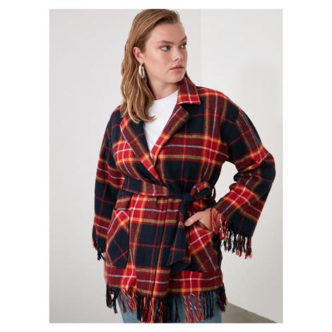 Červený kostkovaný lehký kabát Trendyol