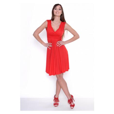 Delší vycházkové šaty bez rukávů barva červená Oxyd