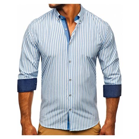 Tmavě modrá pánská pruhovaná košile s dlouhým rukávem Bolf 20704