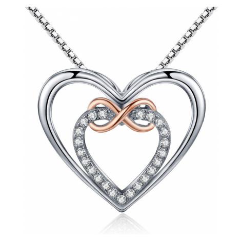 Linda's Jewelry Stříbrný náhrdelník se zirkony Infinite Love INH034
