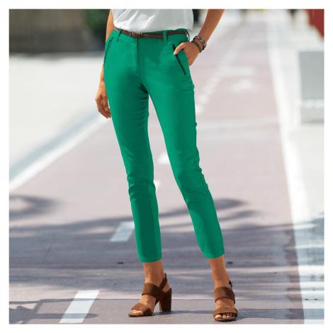 Blancheporte 7/8 kalhoty se zipy a kapsami zelená