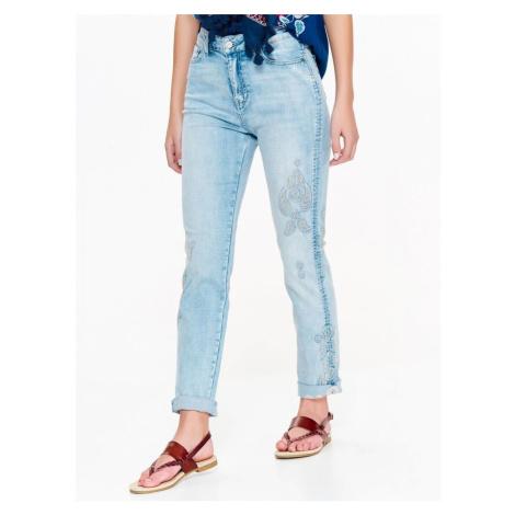 Top Secret Jeansy dámské světle modré s vyšíváním