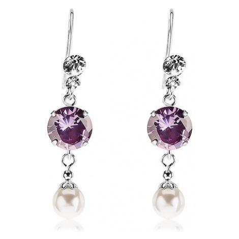 Náušnice ze stříbra 925, čiré krystalky Swarovski, fialový zirkon, bílá perla Šperky eshop