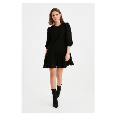 Trendyol Black Petite Balloon Sleeve Fabric Textured Dress