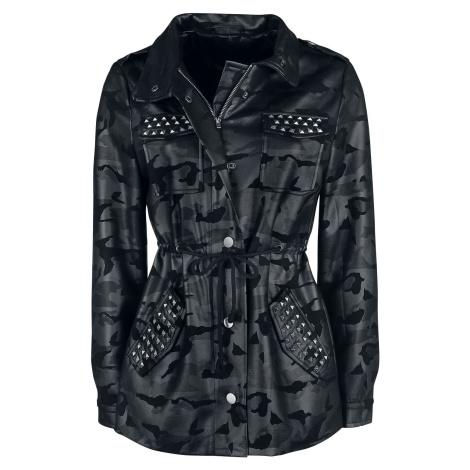 Fashion Victim Kamufláž bunda s nýty Dámská bunda tmavě maskáčová