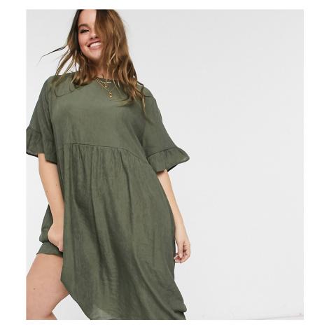 Lola May Curve midi smock dress in khaki-Green