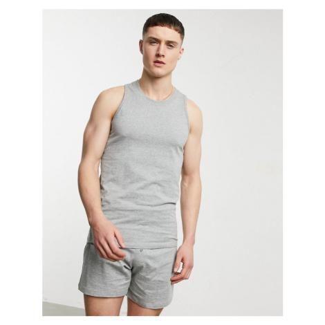 ASOS DESIGN lounge vest and boxer pyjama set in grey marl