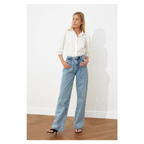 Trendyol Blue Pleated High Waist Wide Leg Jeans