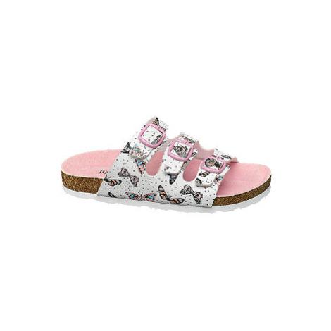 Bílé dívčí pantofle Graceland s motýly
