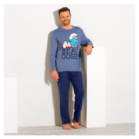 Blancheporte Pyžamo s potiskem Šmoulů, dlouhé rukávy modrá
