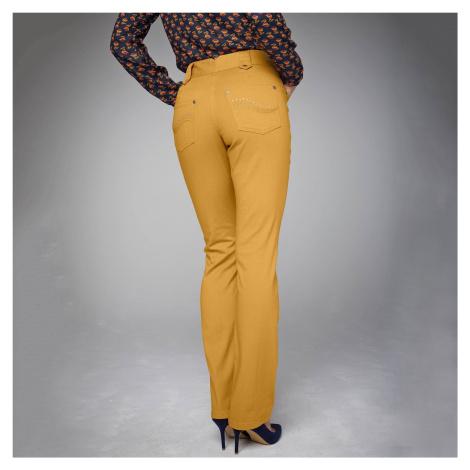 Blancheporte Rovné kalhoty s vysokým stahujícím pasem šafránová