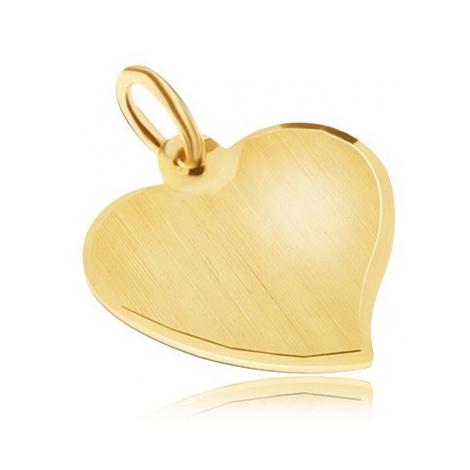 Zlatý přívěsek 585 - nepravidelné ploché srdce, saténový povrch, lesklý okraj Šperky eshop