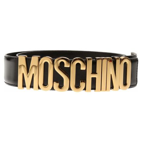 Černý kožený pásek - MOSCHINO