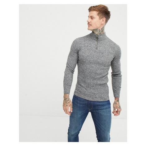 ASOS DESIGN muscle fit ribbed half zip jumper in grey twist - Grey