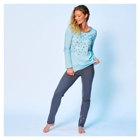 Blancheporte Pyžamové tričko s potiskem květin a dlouhými rukávy modrá