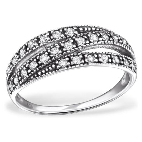 OLIVIE Stříbrný prsten tři linie se zirkony 0688