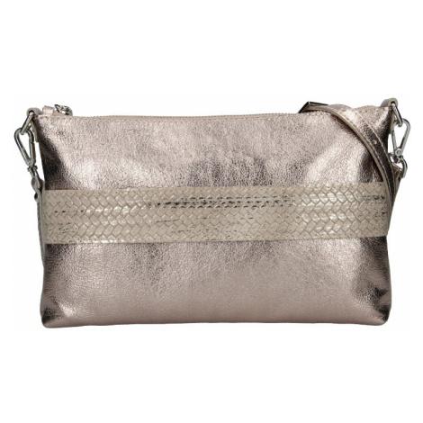Trendy dámská kožená crossbody kabelka Facebag Elesn - zlatá
