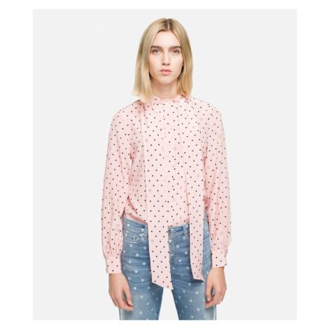 Košile Karl Lagerfeld Karl Dots Pleated Bow Blouse - Růžová