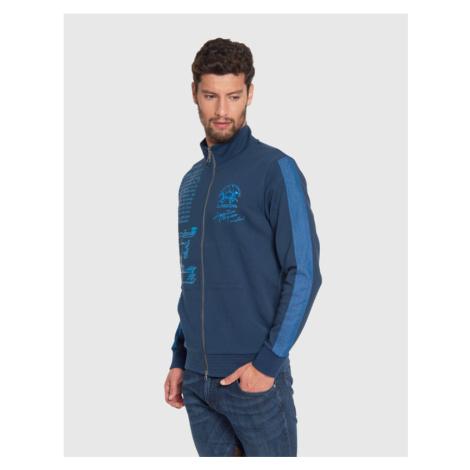 Mikina La Martina Man Full Zip Compact Fleece - Modrá