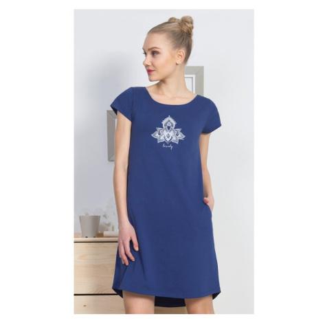 Dámské domácí šaty s krátkým rukávem Lovely, M, tmavě modrá Vienetta Secret