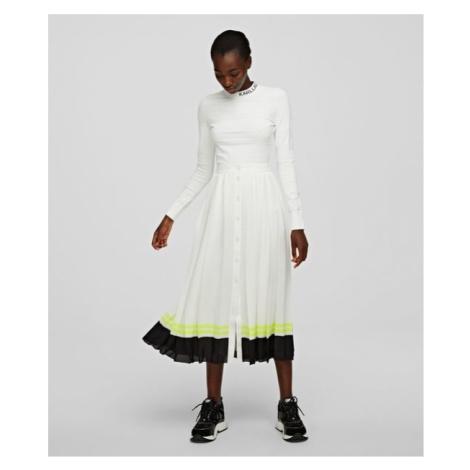 Sukně Karl Lagerfeld Pleated Skirt W/ Striped Hem - Bílá