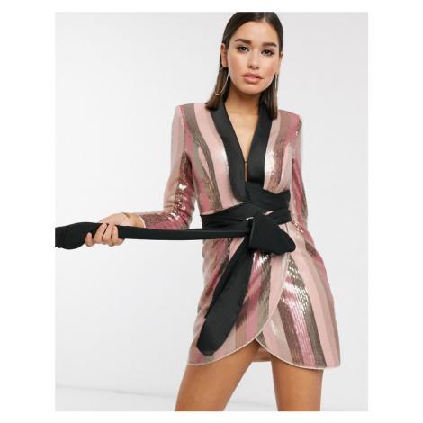 ASOS DESIGN tux mini dress in pink stripe sequin embellishment