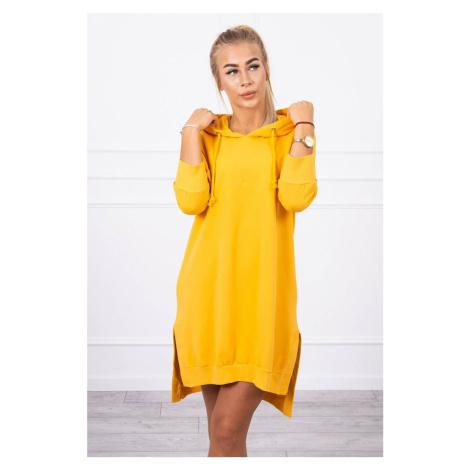 Jednobarevné mikinové šaty s kapsami