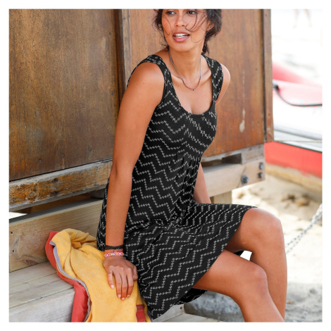Blancheporte Šaty s cik-cak potiskem a kulatým výstřihem černá