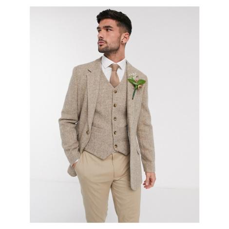 ASOS DESIGN wedding Harris Tweed slim blazer with wool herringbone in camel-Beige