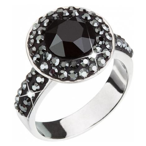 Evolution Group Stříbrný prsten s krystaly černý 35019.5