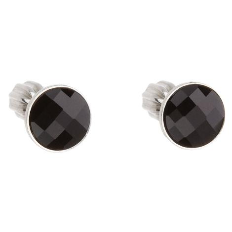 Evolution Group Stříbrné náušnice pecka s krystaly Swarovski černé kulaté 31137.3