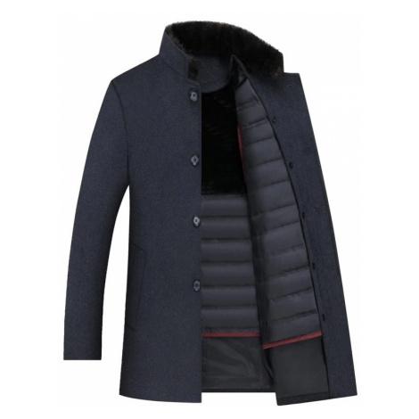 Zimní pánský kabát tmavě modrý s podšivkou a vestou