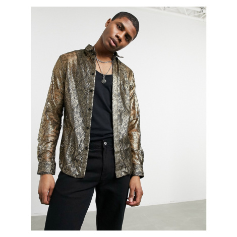 Twisted Tailor skinny shirt in gold floral lace