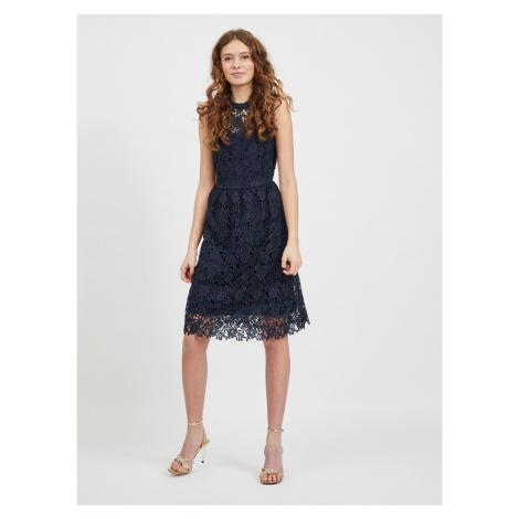 Vila tmavě modré šaty Manuela s krajkou