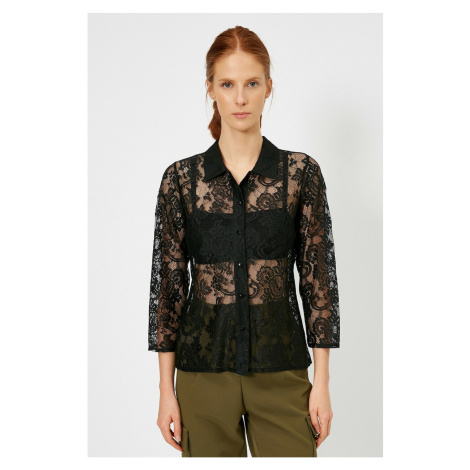 Koton Women's Black Lace Detail T-Shirt