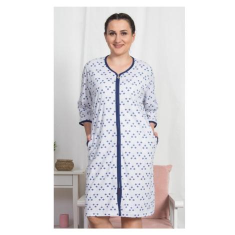 Dámské domácí šaty s tříčtvrtečním rukávem Marika, 3XL, světle šedá Vienetta Secret