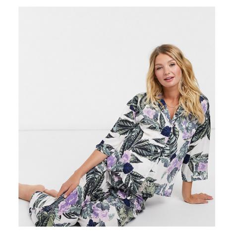 ASOS DESIGN Maternity tropical long sleeve shirt & trouser pyjama set in green & purple-Multi