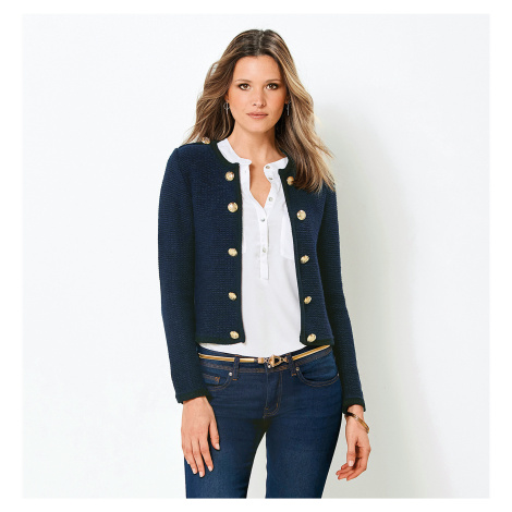 Svetr s dlouhými rukávy a zlatými knoflí námořnická modrá