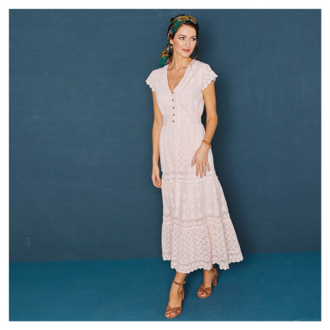 Blancheporte Dlouhé šaty s krajkou a macramé růžová pudrová