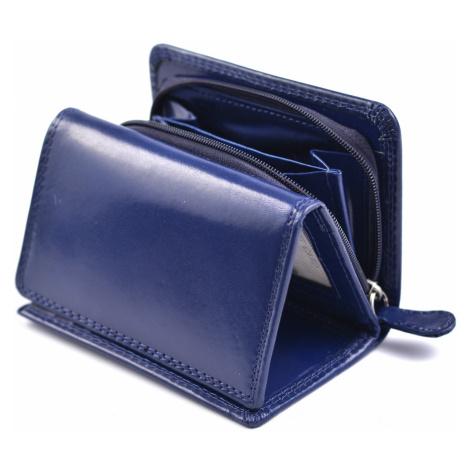 Dámská kožená peněženka na výšku se zipem na mince modrá, 9 x 0 x 12 (SB00-V908-41KUZ)