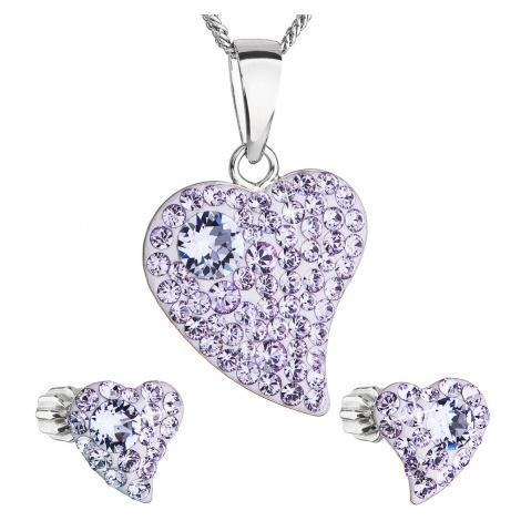 Sada šperků s krystaly Swarovski náušnice,řetízek a přívěsek fialové srdce 39170.3 Victum