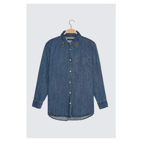 Trendyol Blue Embroidery Detailed Denim Shirt