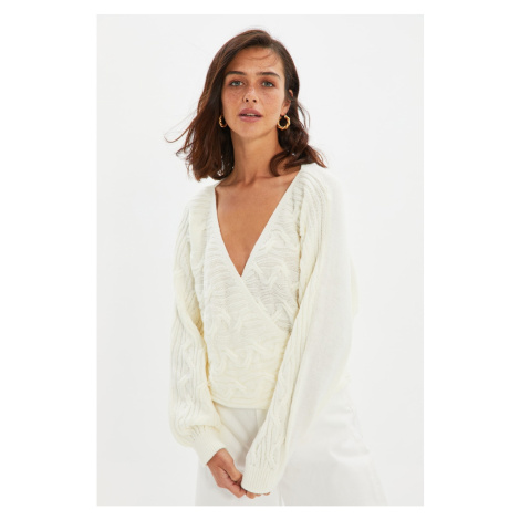 Trendyol Ecru Double Breasted Detailed Knitwear Sweater