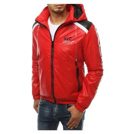 Pánská bunda přechodová s kapucí červená tx3446