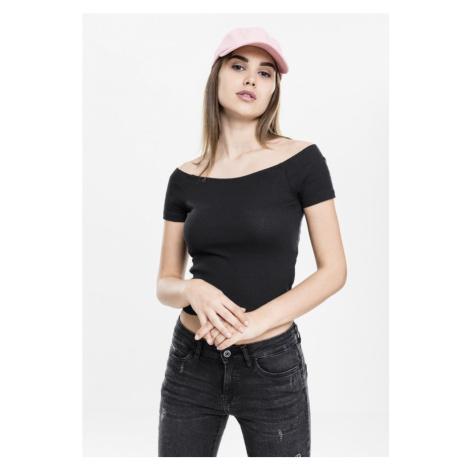 Ladies Off Shoulder Rib Tee - black Urban Classics