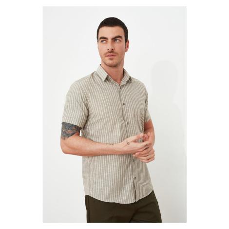 Trendyol Khaki Men's Regular Fit Shirt Collar Striped Short Sleeve Shirt
