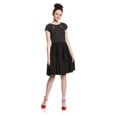 Bavlněné černé šaty s puntíky Pussy Deluxe Pettycoat
