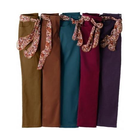 Kalhoty+šátkový pásek,vn.dél.noh.78 cm bordó