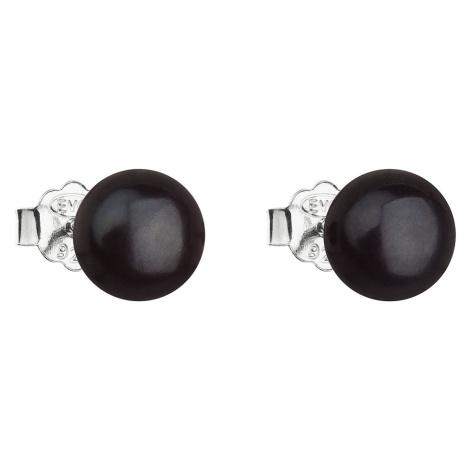 Evolution Group Stříbrné náušnice pecky s černou říční perlou 21042.3